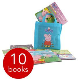 Book People favourite Peppa Pig stars in the ten exciting story books featured in this great collection, which also comes with a cute Peppa-themed bag to carry them all around in!