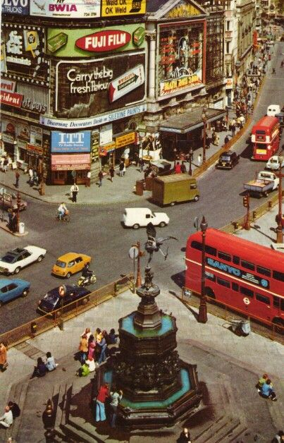 Aerial view of the 36 feet high Piccadilly Circus fountain and sculpture - taken in the 1970s