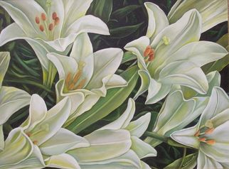 white lilies painting - Google Search