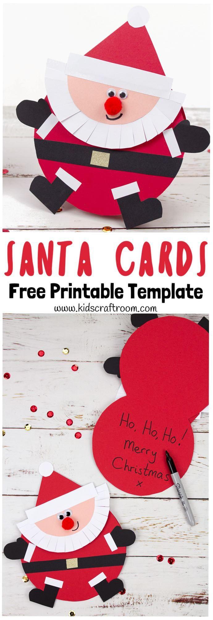 Santa Christmas Cards Santa Christmas Cards Diy Christmas Cards Printable Christmas Cards