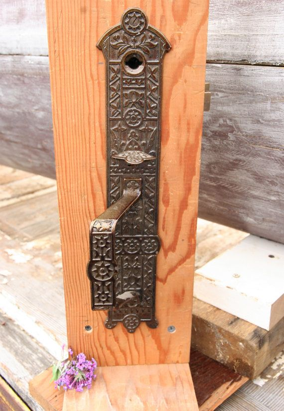 Victorian Double Sided Thumb Latch Set Ornate Brass