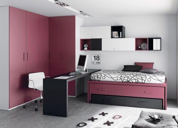 Dormitorio juvenil con dos camas con cajones escritorio y for Cama escritorio juvenil