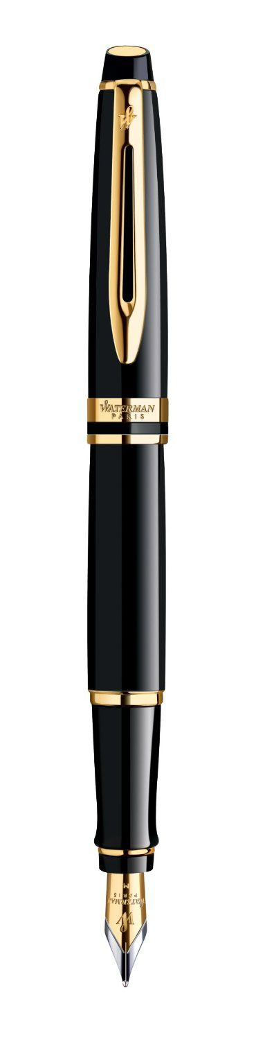 Waterman Expert Black Gold Trim Medium Nib Fountain Pen - Gift Boxed: Amazon.co.uk: Office Products