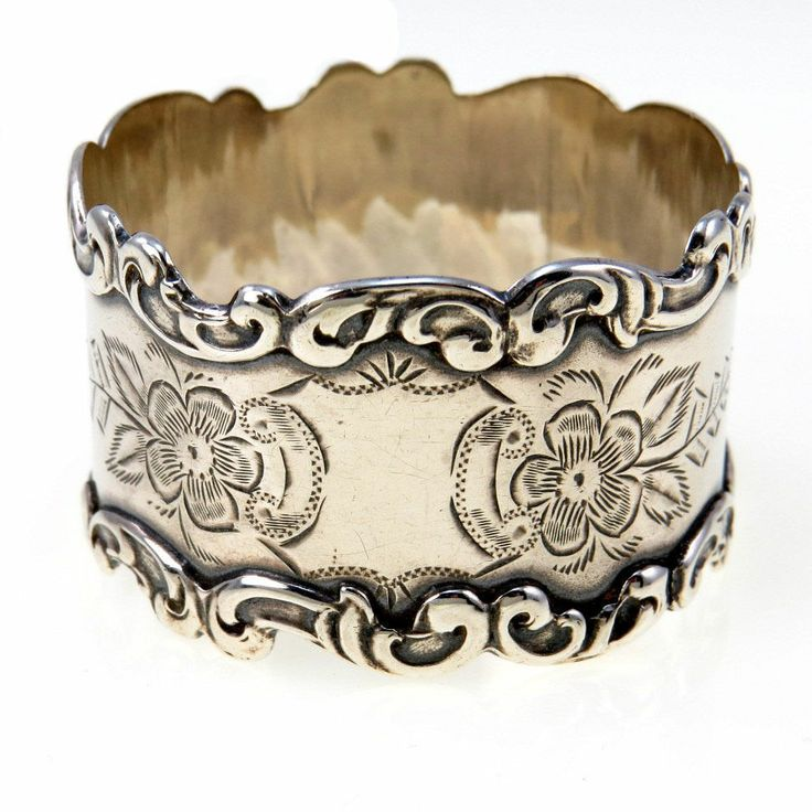 Antique Sterling Silver Victorian Napkin Ring Hand Chased Flowers