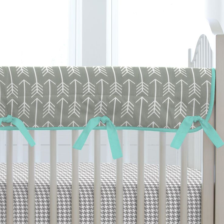 Gray and Teal Arrow Crib Bedding by Carousel Designs.