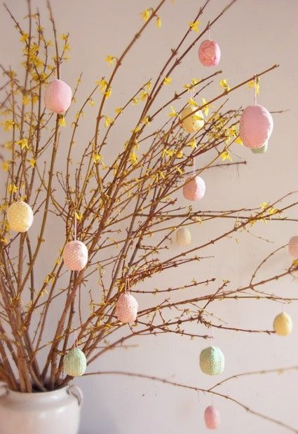 Add a bit of Easter cheer to your home with pastel egg decorations