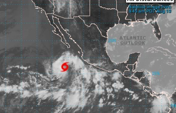 Tropical Storm Karina continues to strengthen Wednesday approximately 400 miles south of the southern tip of the Baja California peninsula, National Hurricane Center forecasters in Miami said.