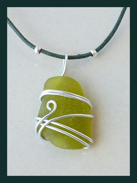 Green Seaglass Pendant by Dianthusa on Etsy, €10.00
