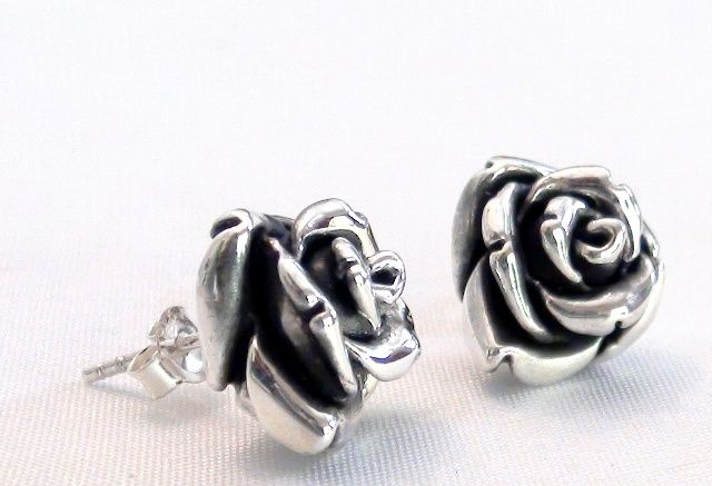 Silver rose studs