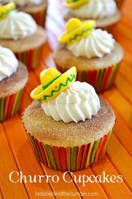 Next time you have a fiesta make sure you add these Churro Cupcakes to the dessert list.  Like the snickerdoodle this cupcake is full of cinnamon flavor.  Add a sombrero topper and you have a fiesta!