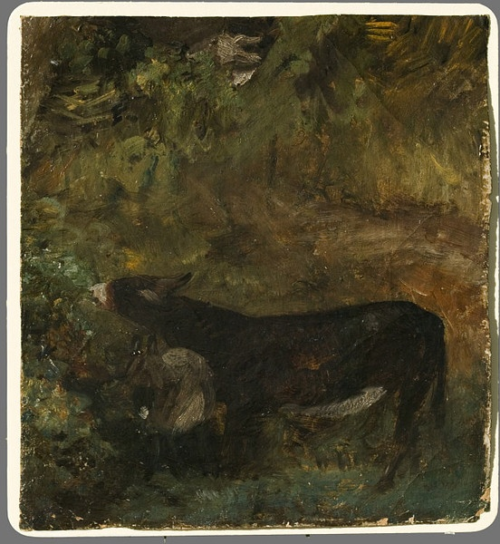 "John Constable (1776 - 1837), Vertreter der romantischen Landschaftsmalerei in England. ""A Donkey with a Foal: Study for The Cornfield"", ca. 1826, Height: 21.6 cm estimate, Width: 18.4 cm; Summary: Farm animals appear in many of Constable's landscapes. He once mentioned 'painting in the field from a donkey that I wanted to introduce in a little picture'. The donkey and foal in this study reappear in The Cornfield of 1826, one of Constable's most famous works. It is now in the National…"