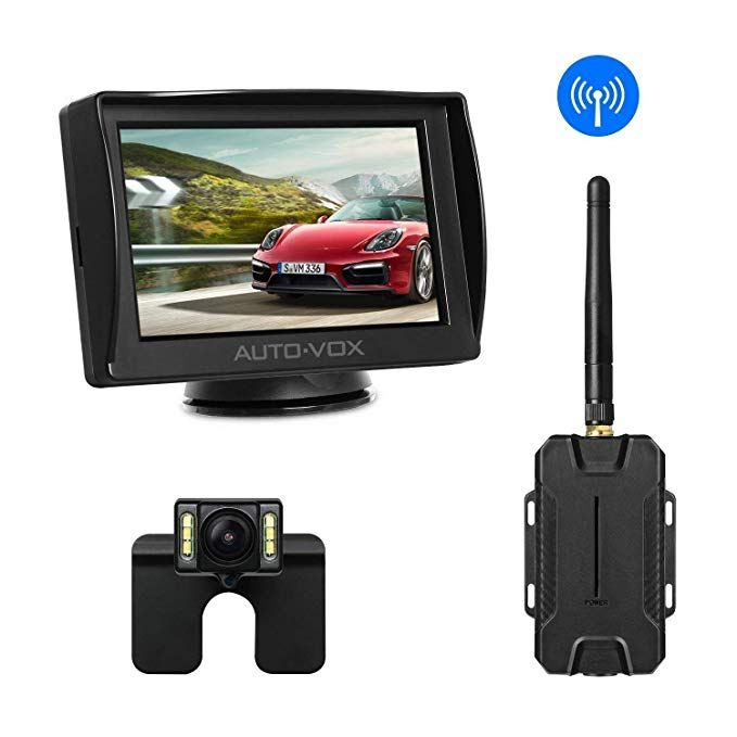 4.3 LCD Screen License Plate Reverse Rear//Front View Camera Guide Lines On//Off Wireless Backup Camera Monitor System Kit 6 LED Color Super Night Vision