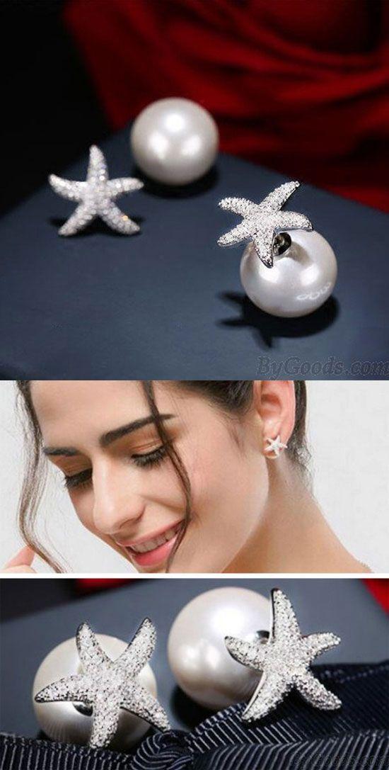 Cute Silver Crystal Diamond-bordered Starfish Amphibious Pearl Women's Earring Studs for big sale! #pearl #women #earrings #studs #starfish #amphibious