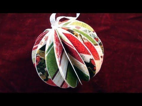 Easy paper ornament!  Materials: bone folder, scrap paper (music!), hot glue gun, glue sticks, ribbon, 3-4 inch circle punch  Gonna do this