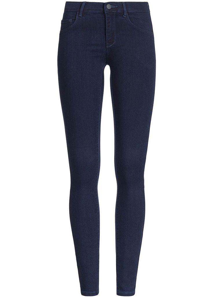 ONLY Damen Skinny Jeans deko Taschen vorne Regular Waist dunkel blau denim - 77onlineshop