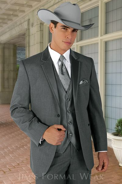 Jean Yves Steel Gray Western Tuxedo Outfit For The Guys In Wedding Party But With Cream Shirt Not White Red Orchid On Lapel