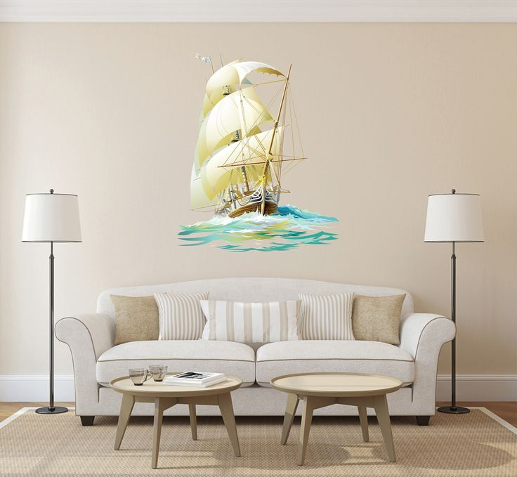 cik668 Full Color Wall decal barque frigate ship sails sea waves living bedroom