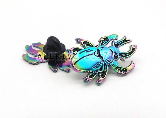 1.25 Rainbow Enamel Pin . Rainbow Stag Beetle . Bug .