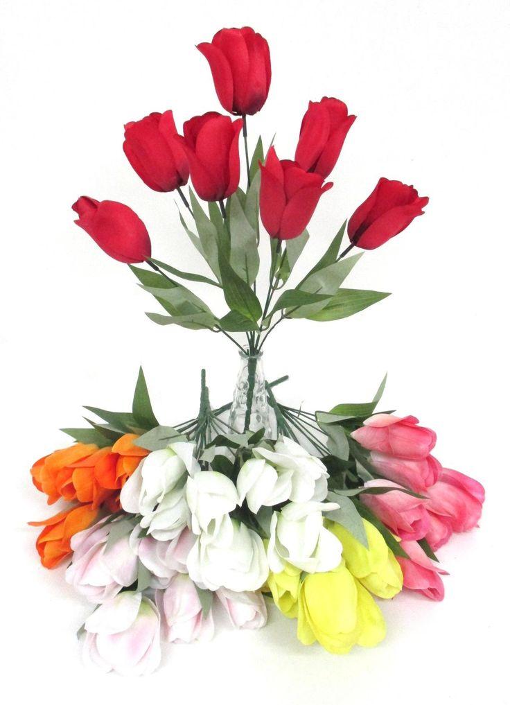 Selyem tulipán csokor - Zöldvilág Webáruház