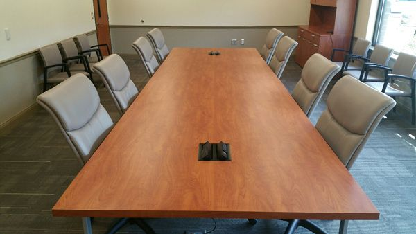 Cherokee County School District - Dr. Frank R. Petruzielo Educational Services Complex (Gaffney, SC) WaveWorks Table with Respect chairs in a conference room #NationalOffice