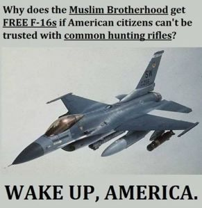 Why does the Muslim Brotherhood get FREE F-16s if American citizens can't be trusted with common hunting rifles?  WAKE UP, AMERICA.