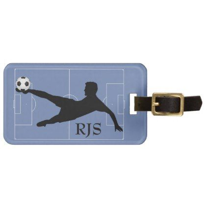 Soccer Player Field Monogram Luggage Tag - monogram gifts unique design style monogrammed diy cyo customize