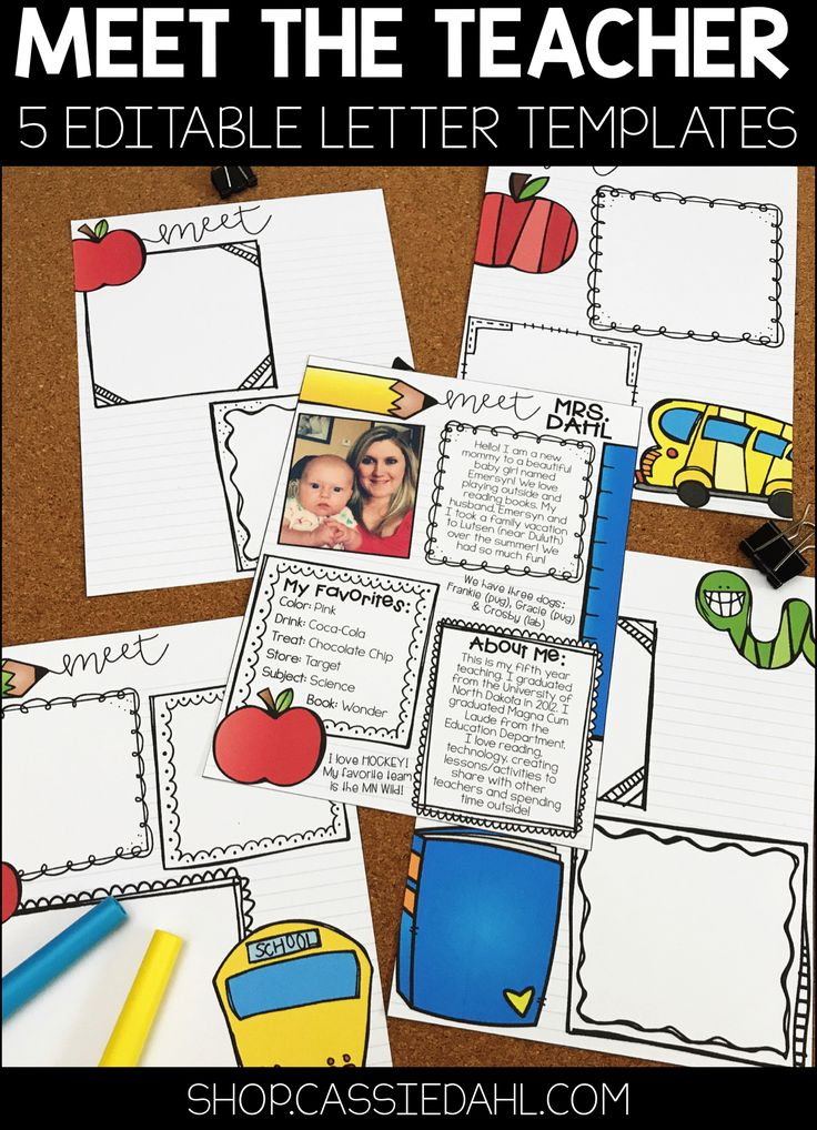 Meet the teacher letter templates for Free meet the teacher template