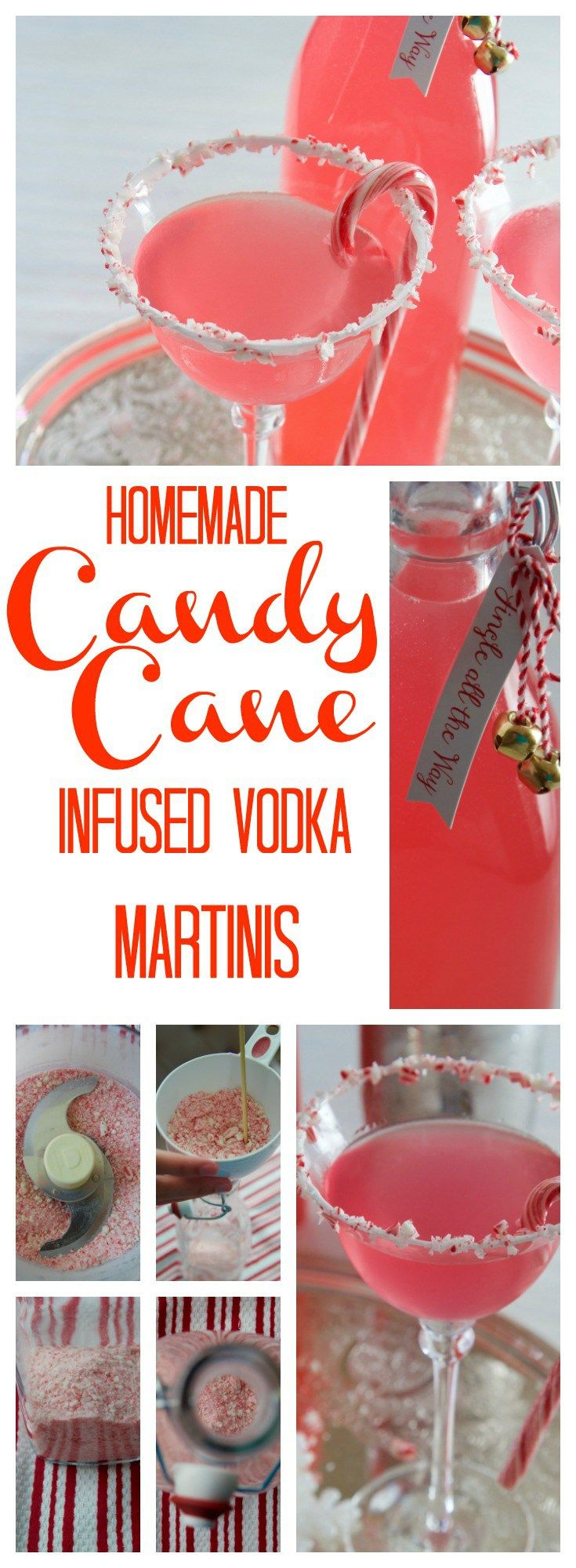 Serve Candy Cane Martinis made with homemade Peppermint Infused Vodka for the holidays! Or give Peppermint Infused Vodka as a festive hostess gift! #martini #christmasrecipe #holidayrecipes