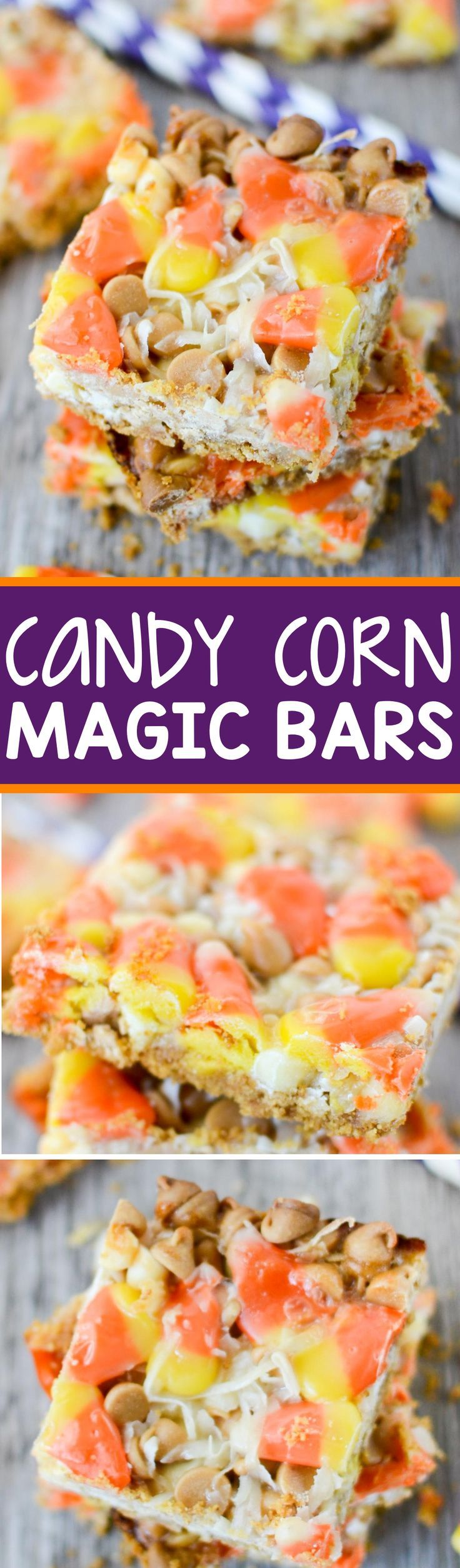 Candy Corn Magic Bars are perfect for Halloween! They have a graham cracker crust and are topped with white chocolate and peanut butter chips, coconut, and candy corn!