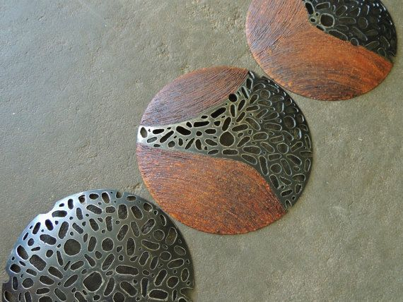 Round Metal Sculpture, Set of 3, MADE TO ORDER, Industrial Wall Sculpture, Disc Metal Sculpture, Abstract Wall Hanging, Recycled Metal Art