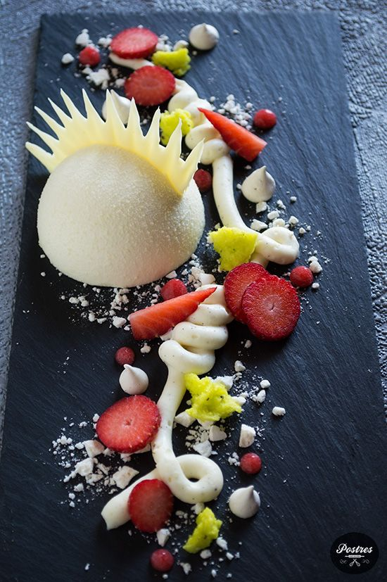 """""""Invierno"""" - a white chocolate mousse dome with a strawberry gel centre.    The presentation is a little out-there but it rocks!"""