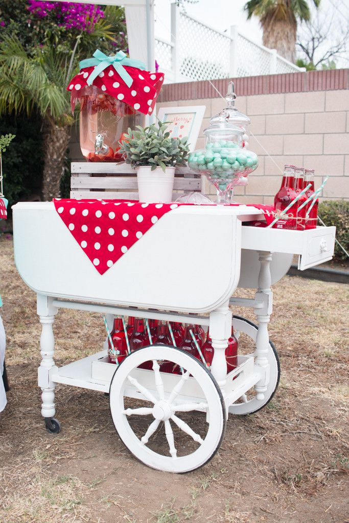 Berry Sweet 16th Birthday. Vintage rustic white painted cart. Strawberry themed party