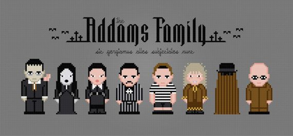 The Addams Family Movie Characters - Digital PDF Cross Stitch Pattern  This is a digital PDF file of a cross stitch pattern. You will need to