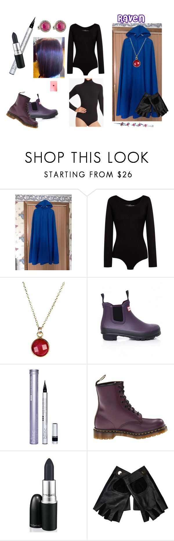 """Raven halloween costume!"" by theartfart ❤ liked on Polyvore featuring Comptoir Des Cotonniers, Hunter, Blinc, Dr. Martens, M.A.C, River Island and Bavna"