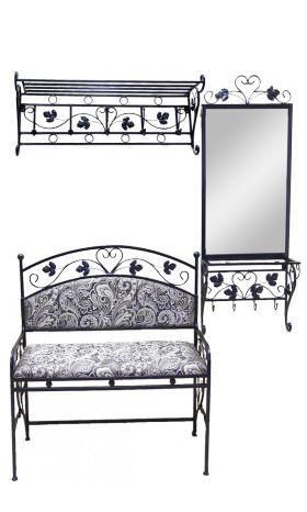 Кованая мебель :: Пуфы, банкетки, стулья, диваны :: Диваны и скамьи :: Набор кованой мебели для прихожей 1 (из 4-х предметов) 005/NAB1/1394