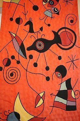 Joan Miro attr. Tapestry Embroidered wall hanging fiber art Mid-Century Modern