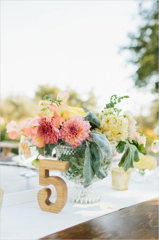 wooden table number #weddingreception #tablenumber #weddingchicks http://www.weddingchicks.com/2014/02/28/soft-summer-vineyard-wedding/