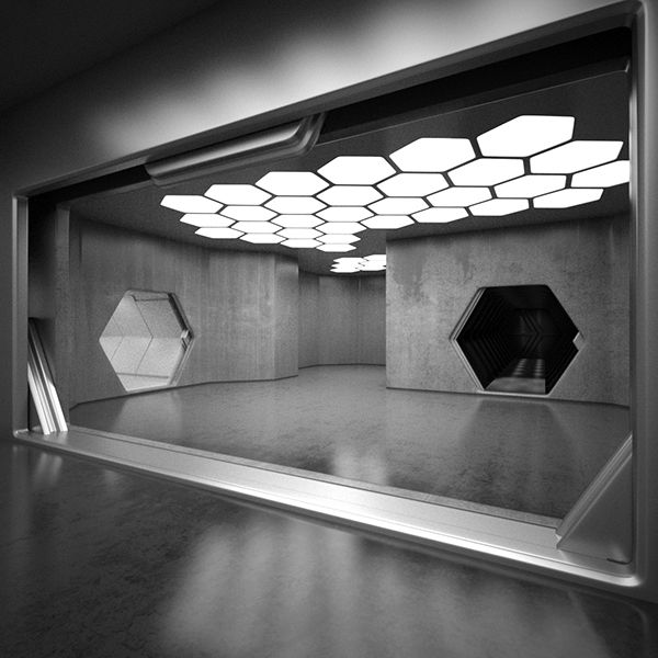 Sci fi interior 3d model on behance scifi movie tv for Decor 3d model