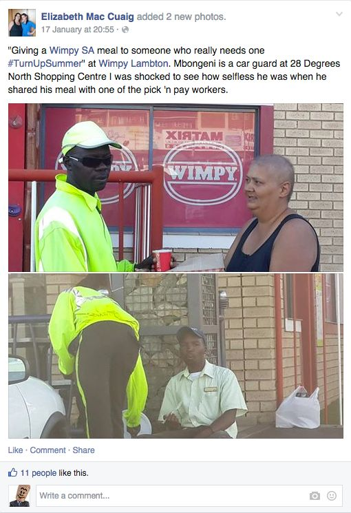 Elizabeth thought that this car gaurd, Mbongeni, really needed a Wimpy meal #TurnUpSummer