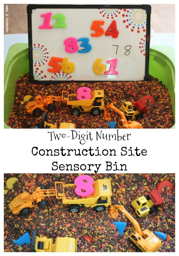 Two Digit Number Construction Site Sensory Bin.  Create two digit numbers by digging for magnetic numbers in a sensory bin. Great for construction themed learning.