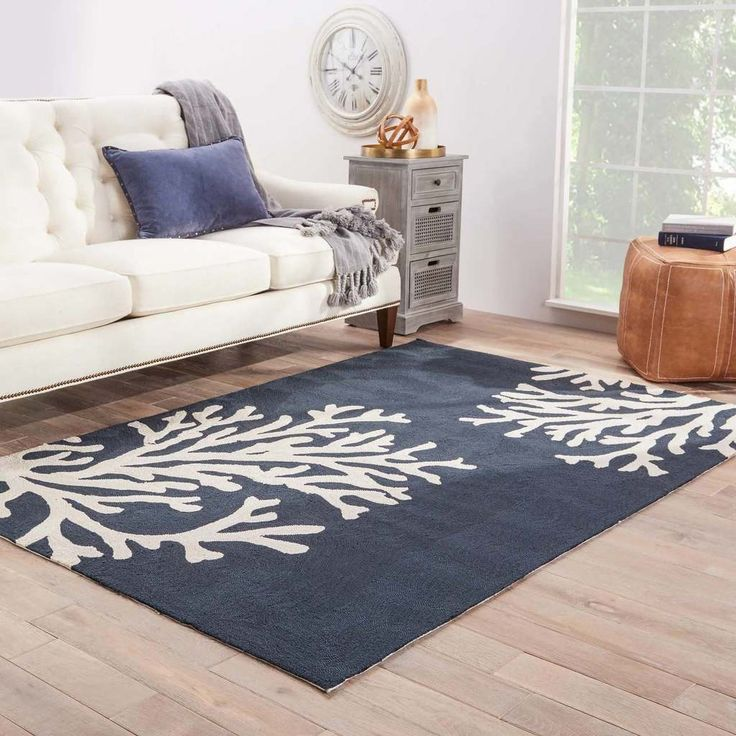 Navy Blue Coral Branch Out Area Rug Home Decor Coastal