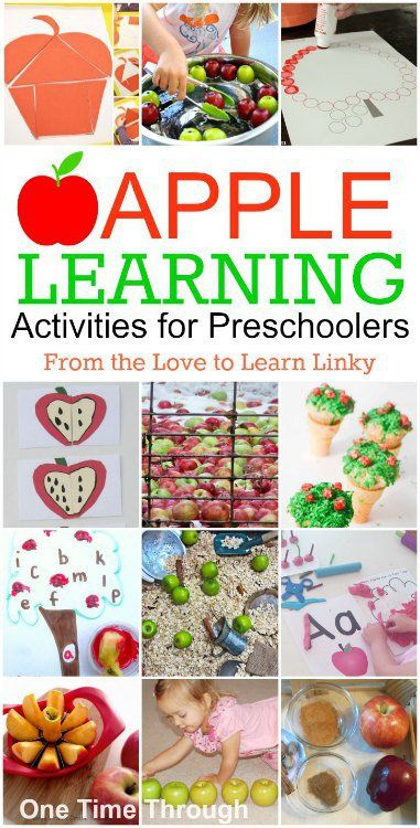 APPLE Themed MATH, SCIENCE, LANGUAGE, SENSORY & FINE-MOTOR LEARNING Activities for PRESCHOOLERS from the Love to Learn Linky! {One Time Through} #teachingkids #preschoolers #KBN