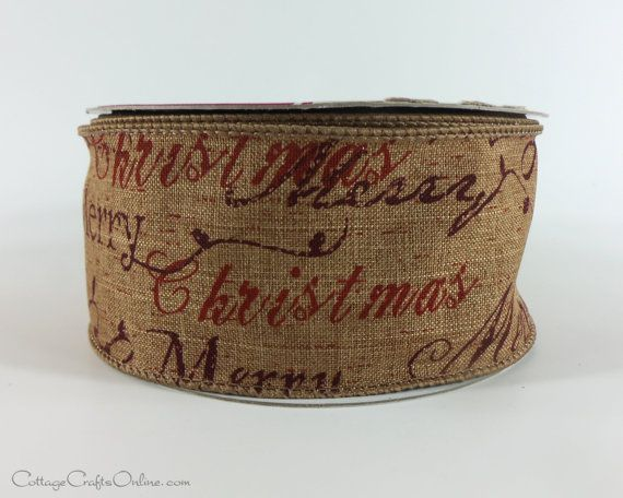 """Merry Christmas Script Wired Ribbon, 2 1/2"""" wide, Print on Brown Heather Linen Look. Also offered in Green."""