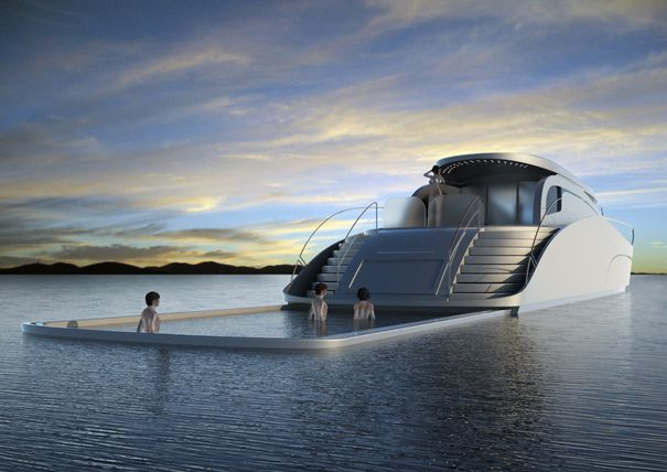 It's a yacht with a fully extendable pool.