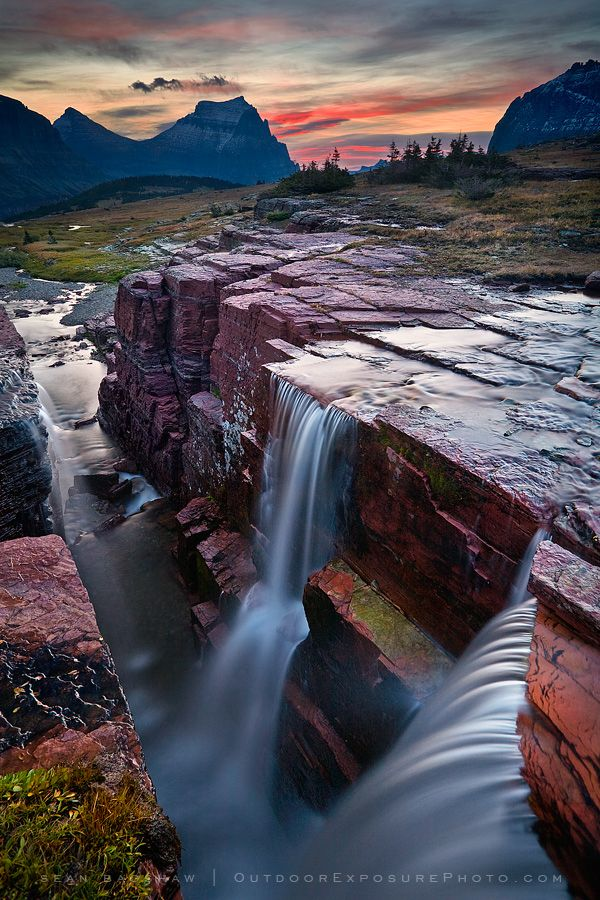"""Double Falls"" by Sean Bagshaw ~ Actually called Triple Falls in Glacier"