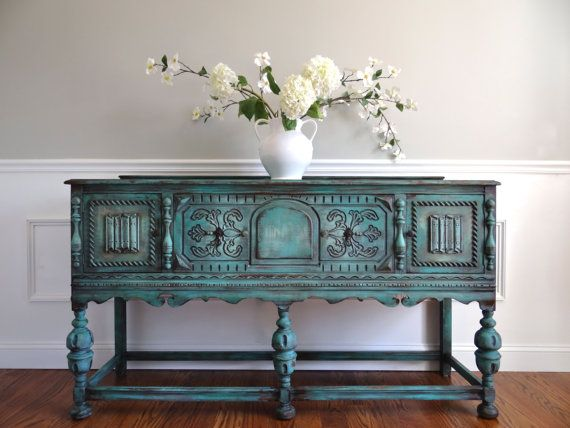 EIA MAGAZINE Exclusive - Hand Painted French Country Cottage Chic Shabby Romantic Vintage Jacobean Style Turquoise Sideboard Cabinet Buffet $2500
