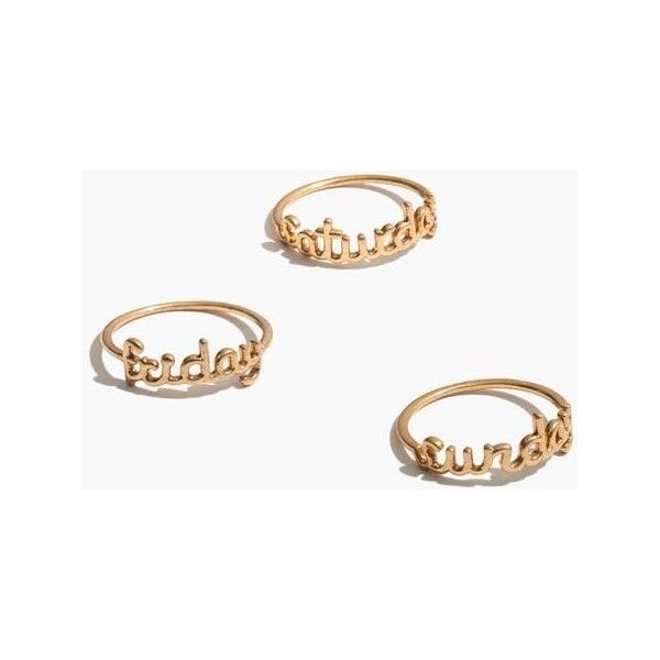 MADEWELL Friday Saturday Sunday Stacking Ring Set ($32) ❤ liked on Polyvore featuring jewelry, rings, gold ox, stacking rings jewelry, madewell jewelry, madewell and stackable rings