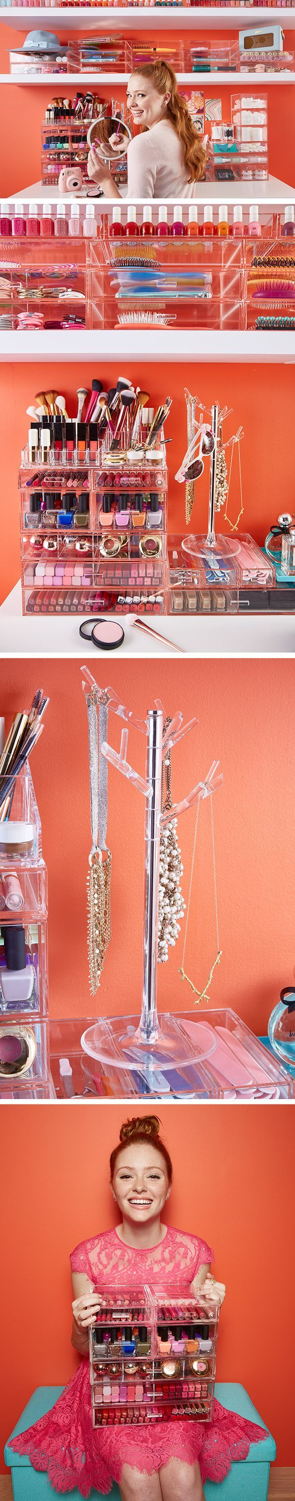 Be a one-girl glam squad with acrylic organizers from The Container Store!