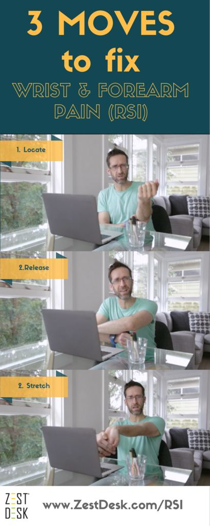 If you work from a computer it is only a matter of time before you suffer wrist, forearm or RSI (repetitive strain injury) pain. Fix wrist & forearm pain from typing (RSI) with these health tips see http://www.zestdesk.com/RSI #stretches #releases #pain free