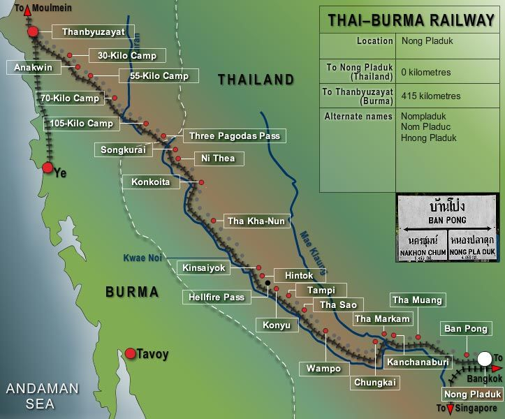 Map of the POW campsite locations along the Thai-Burma Railway from Non-Pladuk to Thanbyuzayat